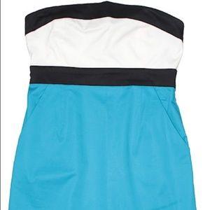 New York & Company Blue Colorblock Dress